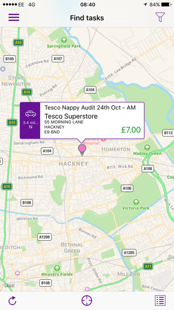 The location of a tesco mystery shopper job for Task 360