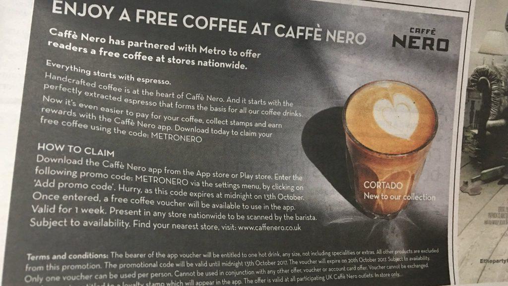 Free Caffe Nero Hot Drink Advert