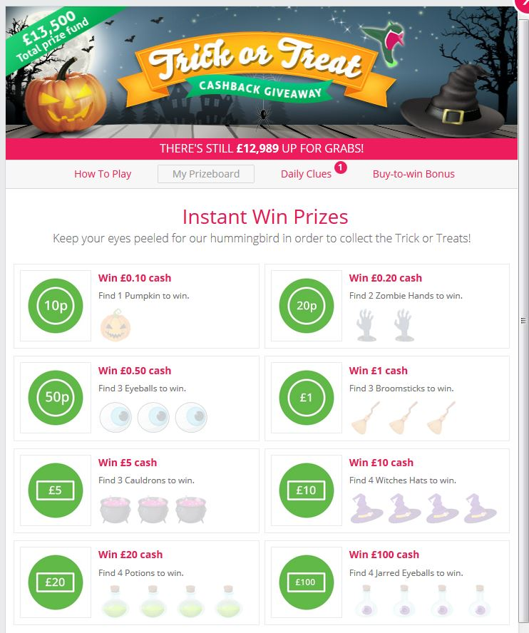 TopCashBack Trick or Treat Prize Board